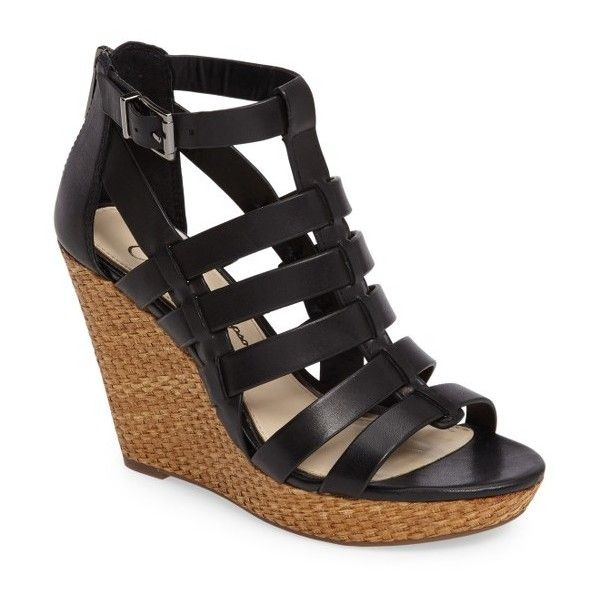 Women's Jessica Simpson Jeyne Wedge Sandal (£64) ❤ liked on Polyvore featuring shoes, sandals, black leather, black caged sandals, black wedge shoes, caged wedge sandals, jessica simpson shoes and leather wedge sandals
