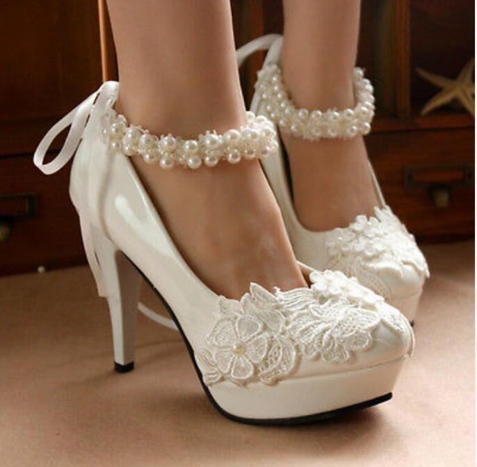 Lady Casamento com cadarço contas Bomba de tiras de tornozelo plataforma Stiletto Sapatos De Noiva Tamanho | Roupas, calçados e acessórios, Calçados femininos, Scarpin | eBay!