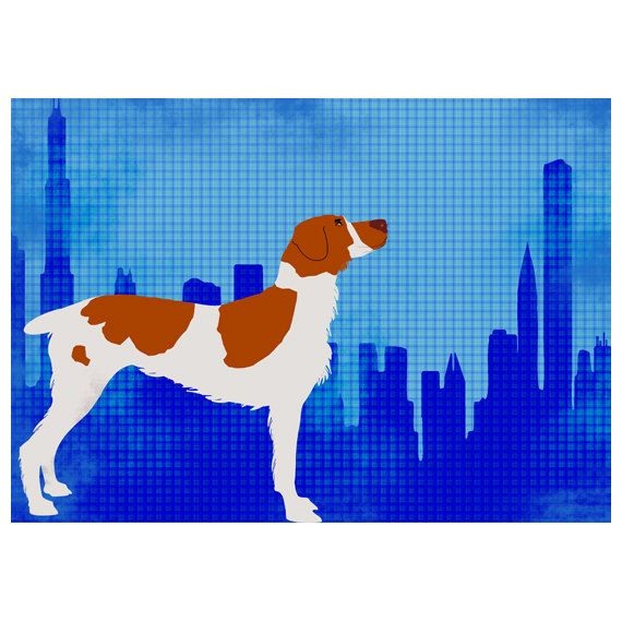 Brittany Spaniel Dog in Chicago city- Fine Art Print,dog art prints, dog lover, orange color, pet, Brittany, spaniel dog. $25.00, via Etsy.