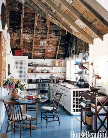 .Wine Racks, Kitchens Design, Blue Floors, Interiors Design, Rustic Kitchens, Painting Floors, Design Kitchen, Wood Ceilings, House