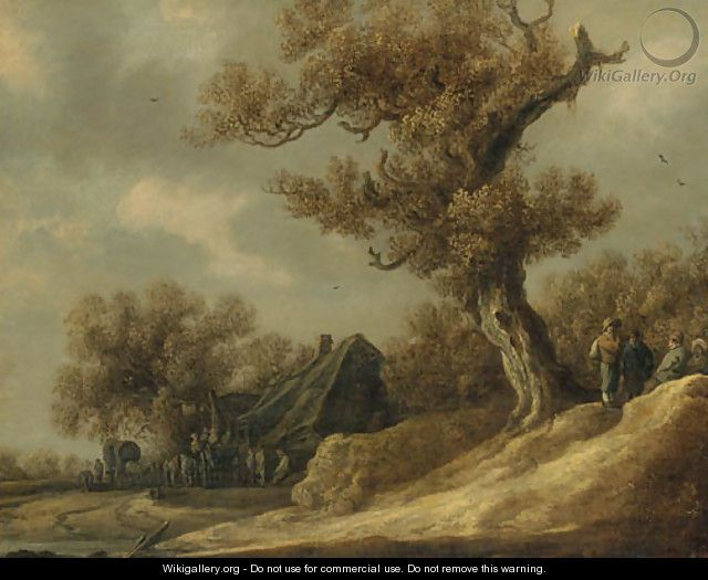 Jan van Goyen - A dune landscape with peasants talking under a tree, an inn with travellers beyond - Jan van Goyen