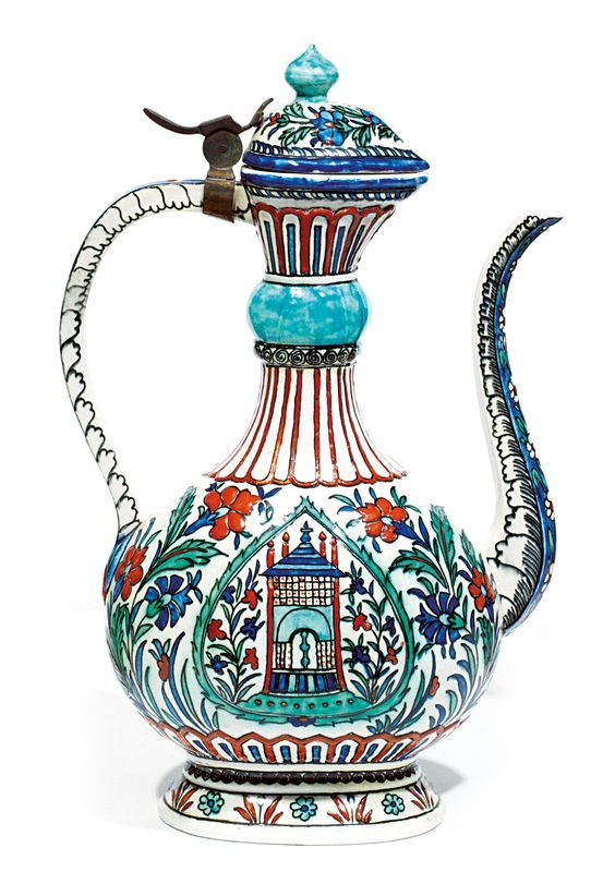 A 19th century French ceramic ewer in the Iznik style.