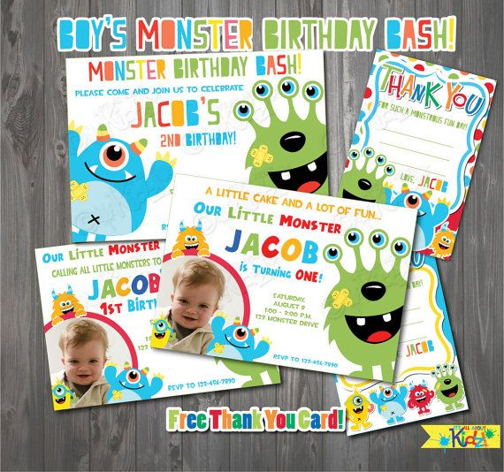 boys monster party invitation monster birthday first birthday party - Monster Birthday Party Invitations