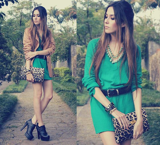 green: Emeralds, Fashion, Leopard Print, Emerald Green, Style Inspiration, Dresses, Outfit, Animal Prints