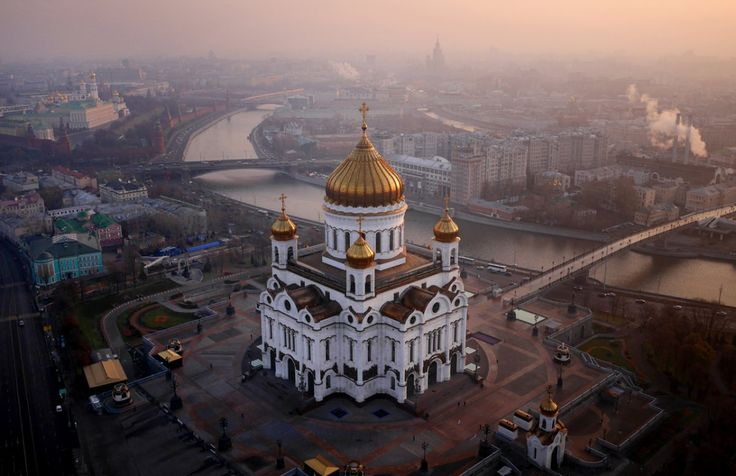 Here's one view of the Cathedral of Christ the Saviour in Moscow, on the banks of the Moskva River.
