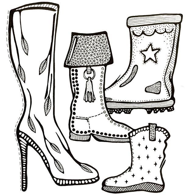 Draw with #lisacongdon, day 25/31, subject: Boots. #blackandwhite #creativebug #CBDrawADay #tekenen #draw #drawing #tekening #laars #laarzen #boots #doodle #doodles #31thingstodrawchallenge #creativelifehappylife #adrawingaday #pendrawing #illustration #art #linedrawing #lisacongdonclass #illustratie #creativelife #createeveryday