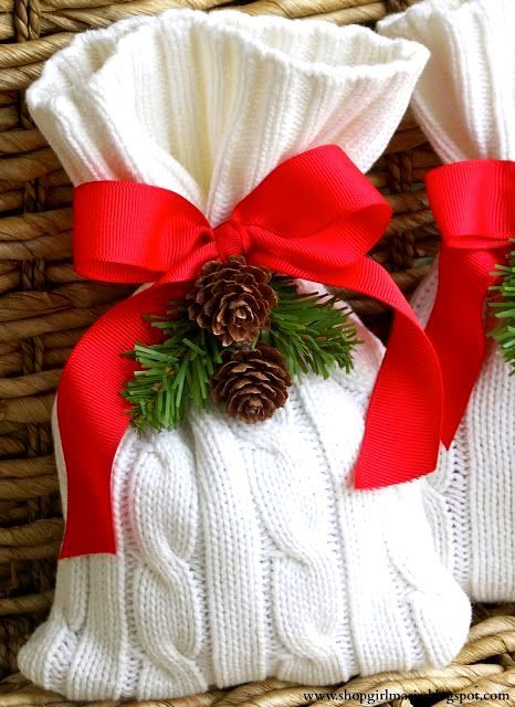 Use old sweater sleeves to make gift bags? #Christmas #gifts #wrapping ideas #DIY #crafts Red knit gift bags