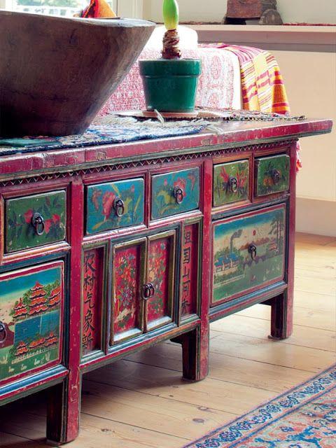 Boho painted furniture #BohoChic