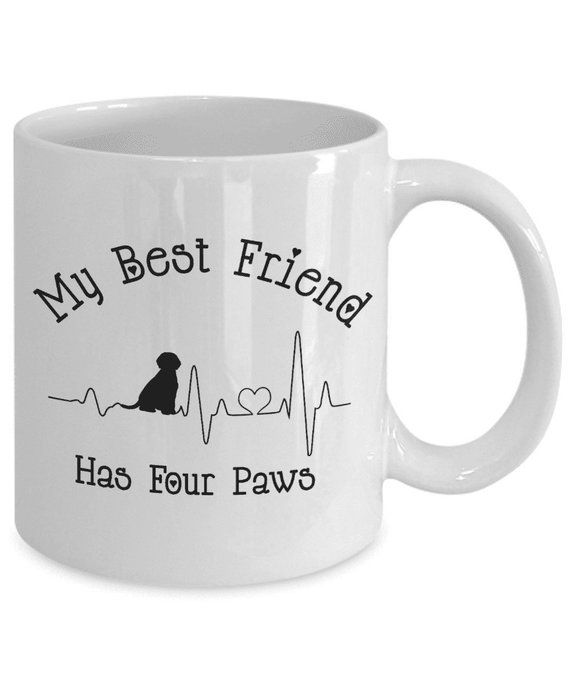 Best Friend Has Four Paws Fun Dog Heartbeat Mom Dad Lover Novelty Birthday Gifts For Moms And Dads Black Or White Perfect Work Mug A