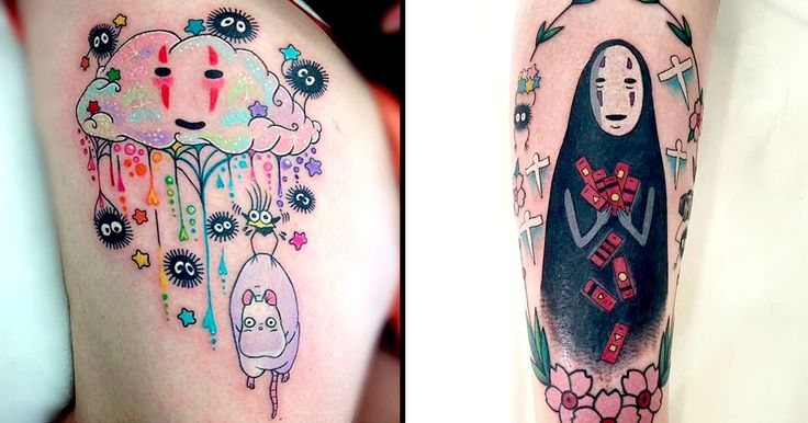 There's nothing but pure love for Spirited Away's No-Face here with these tattoos that are just as lovable as the Studio Ghibli darling.