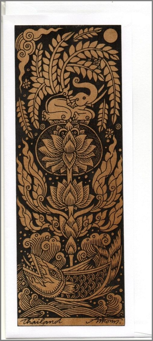 Thai traditional art Elephant by silkscreen printing on Sepia paper Card_i