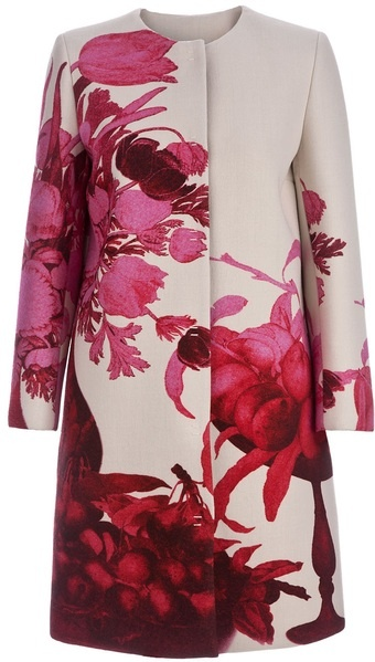 Giambattista Valli Floral Print Coat. Wonderful inspiration for upholstery.