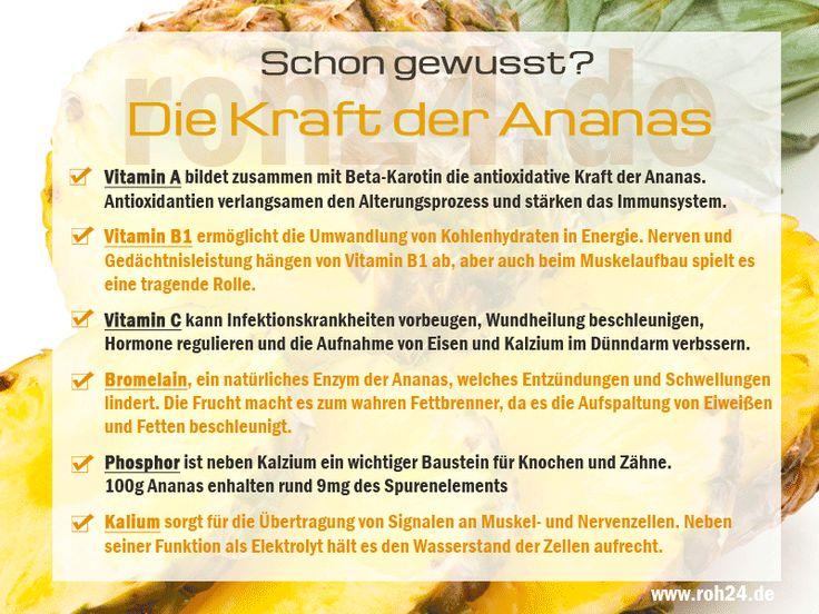 Schon gewusst? Ananas - ein wahres Kraftpaket! Die Ananas, Königin der Früchte und pure Gesundheit. Die heute angebotenen Sorten sind wegen ihrem geringeren Säuregehalt viel besser verträglich als dies früher der Fall war. Reif sind die Früchte wenn sich die Blätter am Stiel leicht ausreissen lassen. Die Farbe ist nur ein bedingter Hinweis auf den Reifegrad, aber reife Früchte sind idR nicht mehr grasgrün sondern zumindest leicht gelblich.