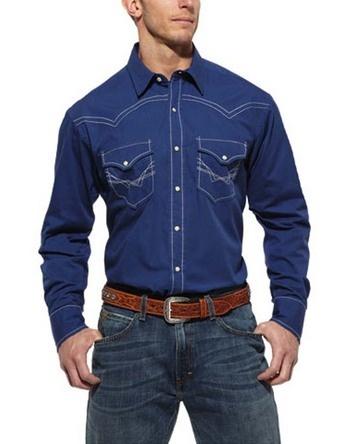 Ariat Mens Hawkeye Deep Marine Western Shirt