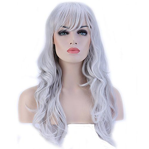 Heat Resistant Synthetic Wig Japanese Kanekalon Fiber 10 Colors Full Wig with Bangs Long Curly Wavy Full Head for Women Girls Lady Fashion and Beauty 23  58cm Silvery Grey *** Learn more by visiting the image link.Note:It is affiliate link to Amazon.