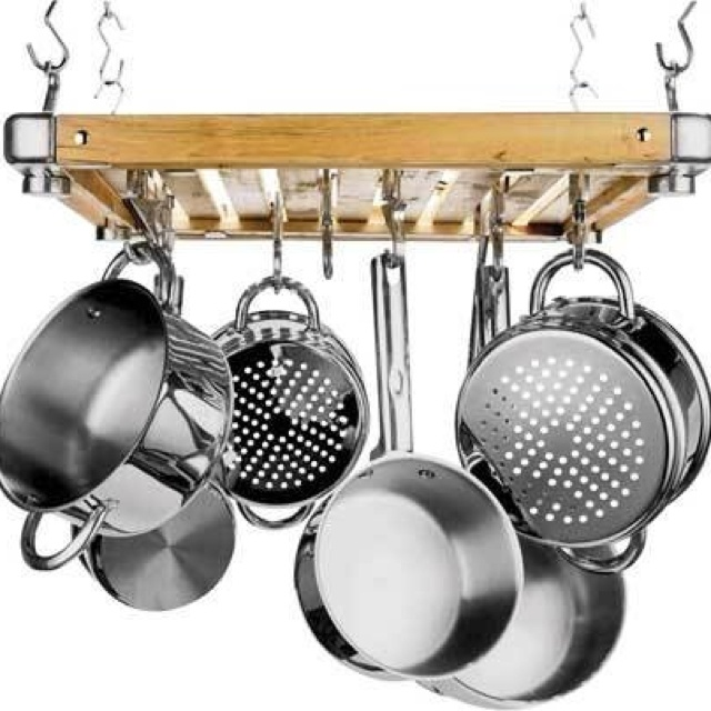 Wooden Pan Soucepan Hanging Rack With Metal Hooks