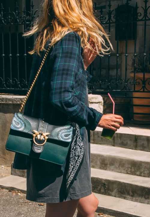 teal green and gold bag