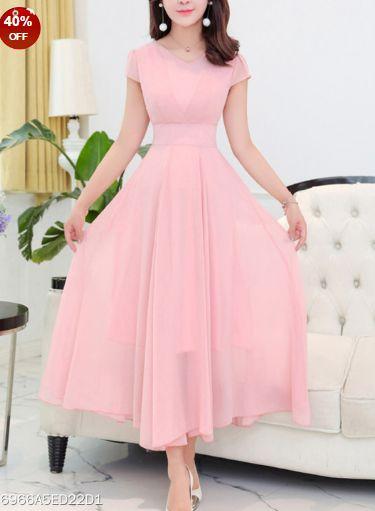 Round Neck Plain Chiffon Maxi Dress