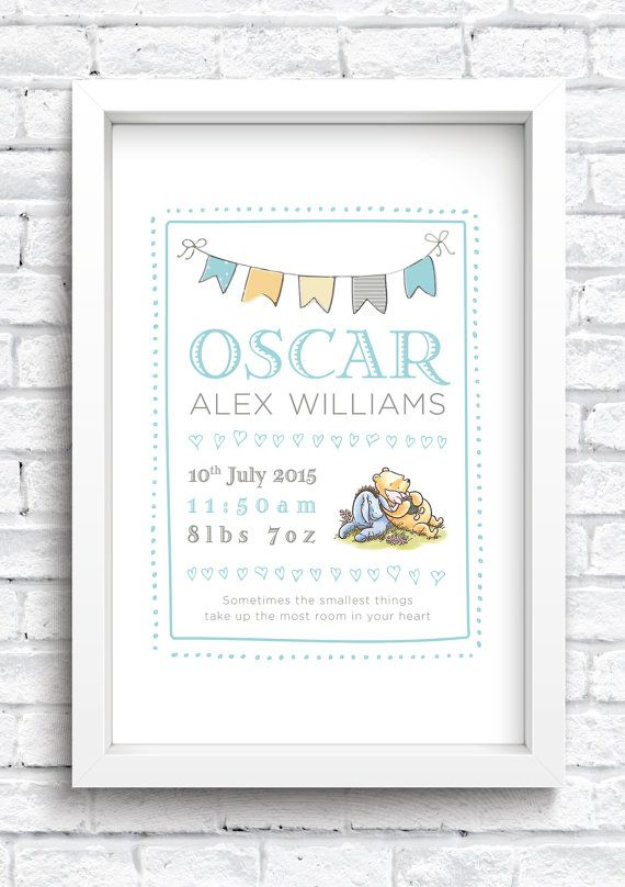 Personalised Winnie the Pooh Framed Print Keepsake. New Baby Print. Nursery Artwork. Word Art. FREE POSTAGE