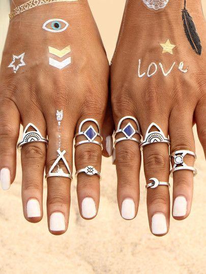 Set anillo hueco grabado