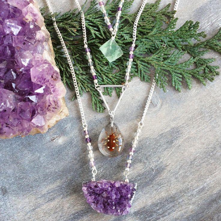Edelsteen ketting amethist geode ruw edelstenen sieraden handgemaakt