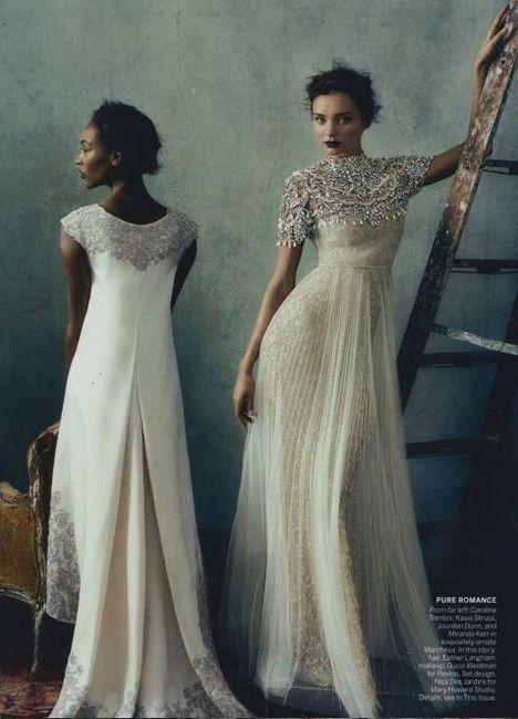 Simply gorgeous wedding dress and make up on stunning miranda kerr. Simply gorgeous   Marchesa - US Vogue