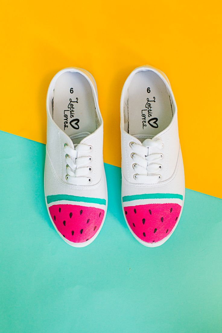 Make these DIY Watermelon sneakers using just Fabric Paint & a sharpie.