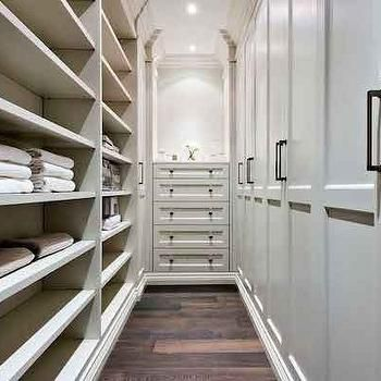 Delightful Narrow Walk In Closet, Like Idea Of Cupboards One Side With Sliding Doors U0026  Shelving