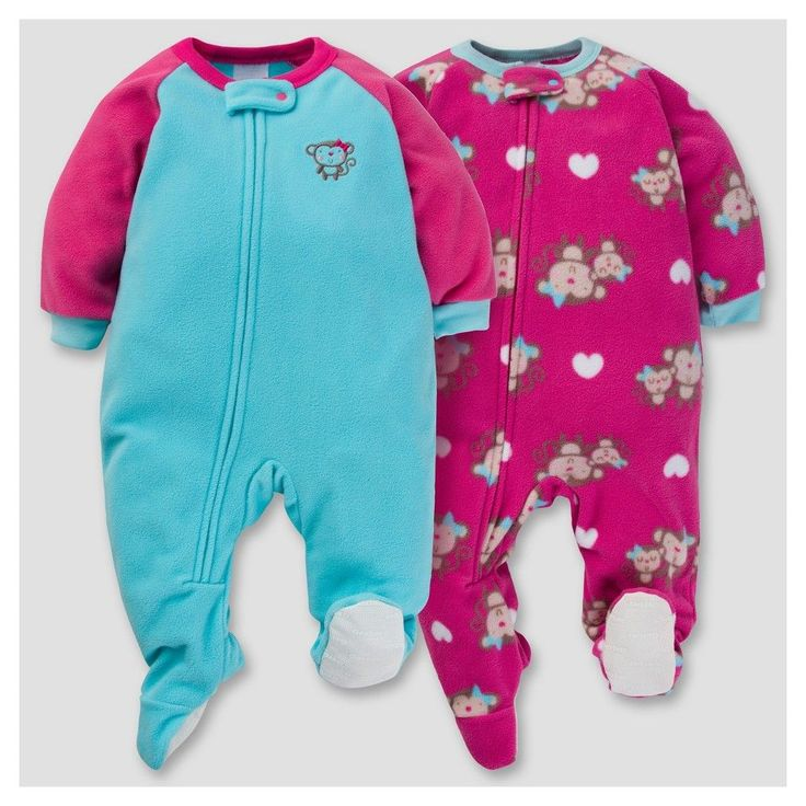 Gerber Baby Girl 2pk Happy Monkey Microfleece Zip-Front Footed Blanket Sleepers - Turquoise 18 M, Green