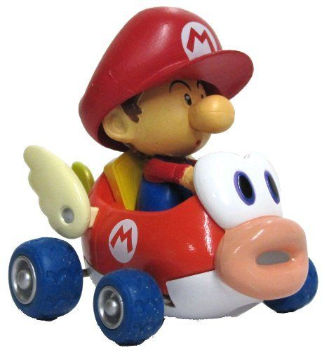 """Nintendo Mario Kart Wii 3"""" Pull-Back Action Cheep Charger Race Car - Baby Mario. High quality mario kart pull back car. Perfect gift for teens. Item Dimensions: width: 1, height: 1 hundredths-inches."""