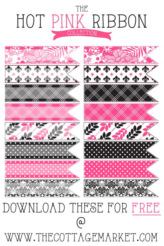 The Cottage Market: Free Hot Pink and Toile Digital Washi Tape Collection (The Gate House Collection)