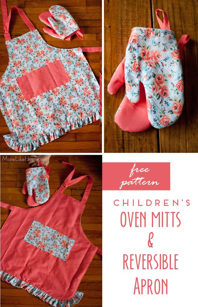 Free pattern for child-size oven mitts and a reverisble apron with pockets and ruffles! Easy to make and so cute!