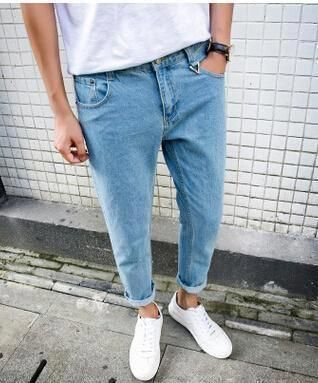 69b35a79f88 Fashion Designer Mens Loose Jeans Pants Man Spring Summer Ripped Denim Knee  Hole Jeans Korean Brand