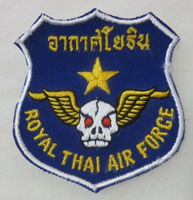 ROYAL THAI AIR FORCE - ORIGINAL VIETNAM WAR Vintage WINGED SKULL PATCH