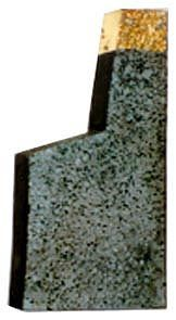 Eila Minkkinen Aton's temple, relief; coloured concrete and leaf gold 46x27x6 cm, 1993