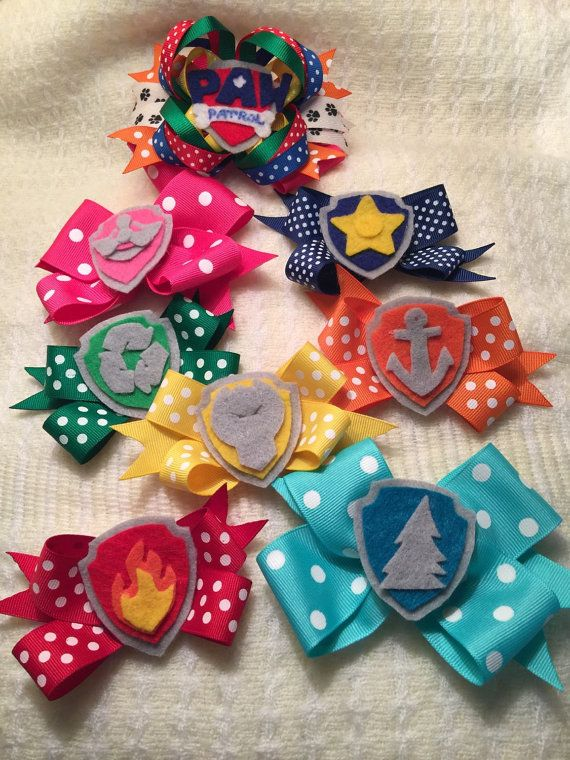 8 Paw Patrol Badge Pup Tag Inspired Girls Hair Bows Marshall Chase Rubble Rocky Zuma Skye Everest