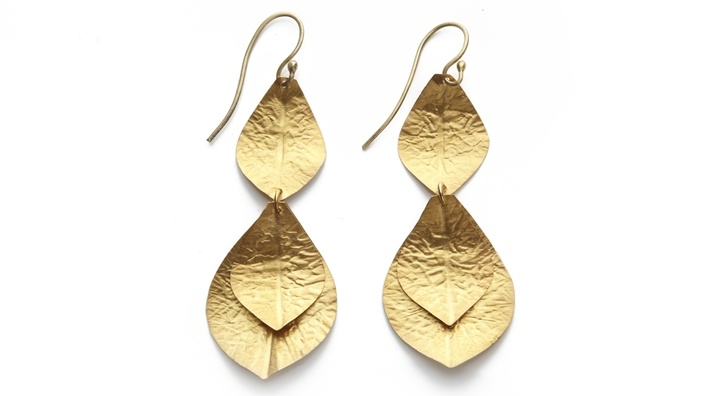 22k Gold-Vermeil Leaf Earrings by Kevia: Sheet Metal