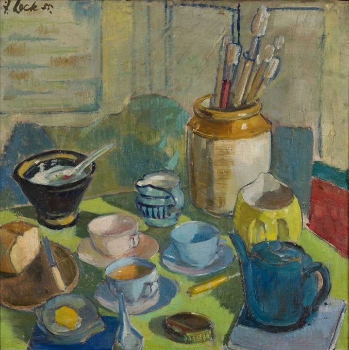 Freida Lock; Still Life with Tea Setting and Paint Brushes