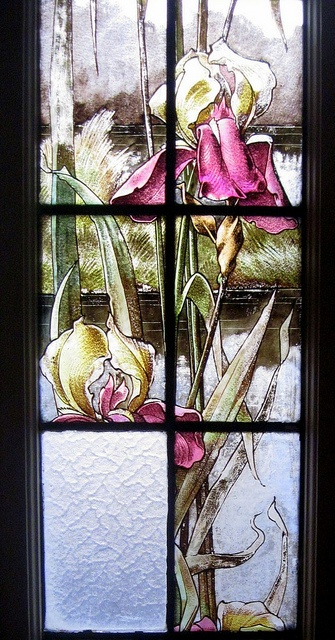 detail of an Art Nouveau stained glass window in Levallois-Perret, Ile-de-France, France