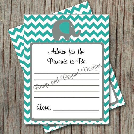 Elephant Baby Shower Advice For New Parents Cards. Shower