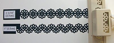How to make paper lace using Martha Stewart and EK Success border punches. Lists what width paper to use for each punch shown to achieve the right look.