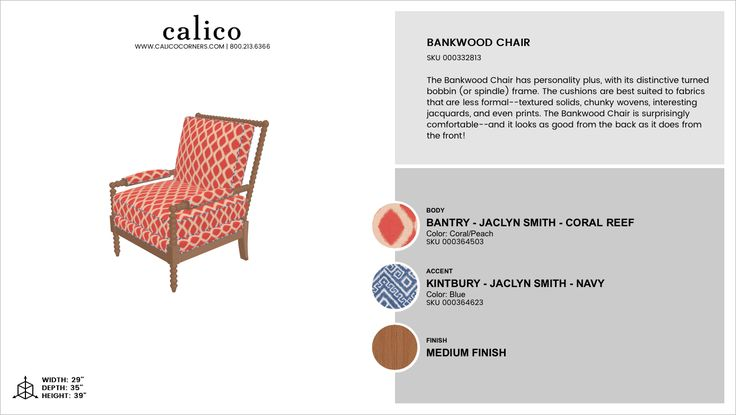 Bankwood Chair in Bantry - Jaclyn Smith - Coral Reef with an accent of Kintbury - Jaclyn Smith - Navy in Medium Finish