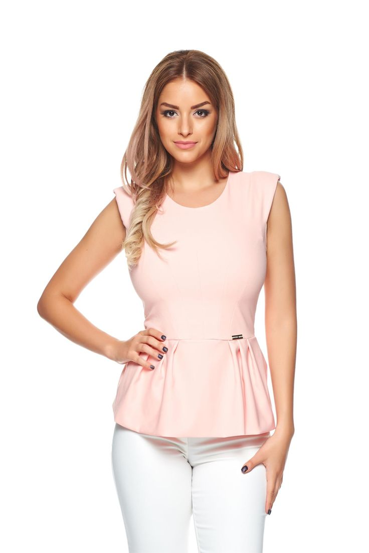 PrettyGirl Intense Feeling Peach Top Shirt, padded shoulders, back zipper fastening, sleeveless, slightly elastic fabric, flexible thin fabric/cloth