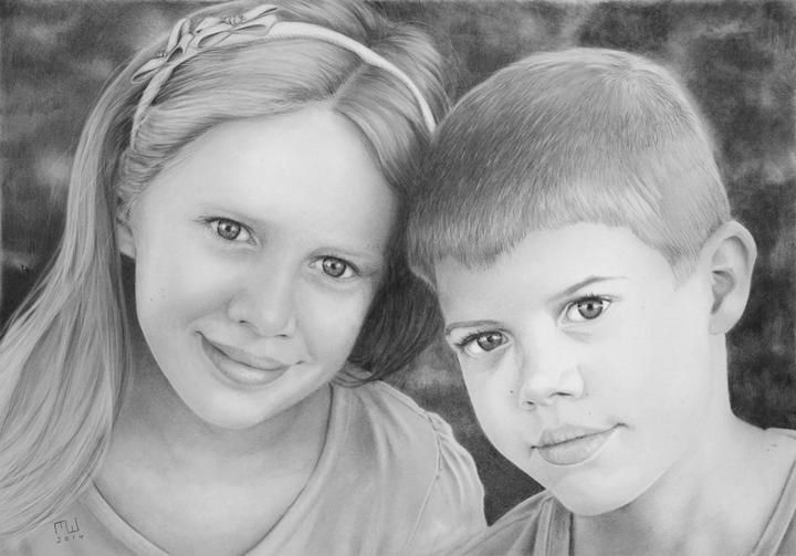 Miriam & Lachlan Pencil Drawing 4H 2H HB 2B 4B 8B