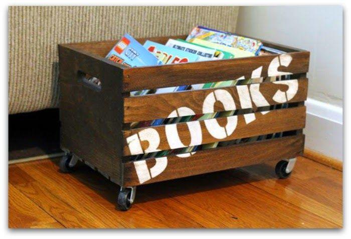 En casa de Oly: Ideas para guardar los libros de los niños reciclando objetos