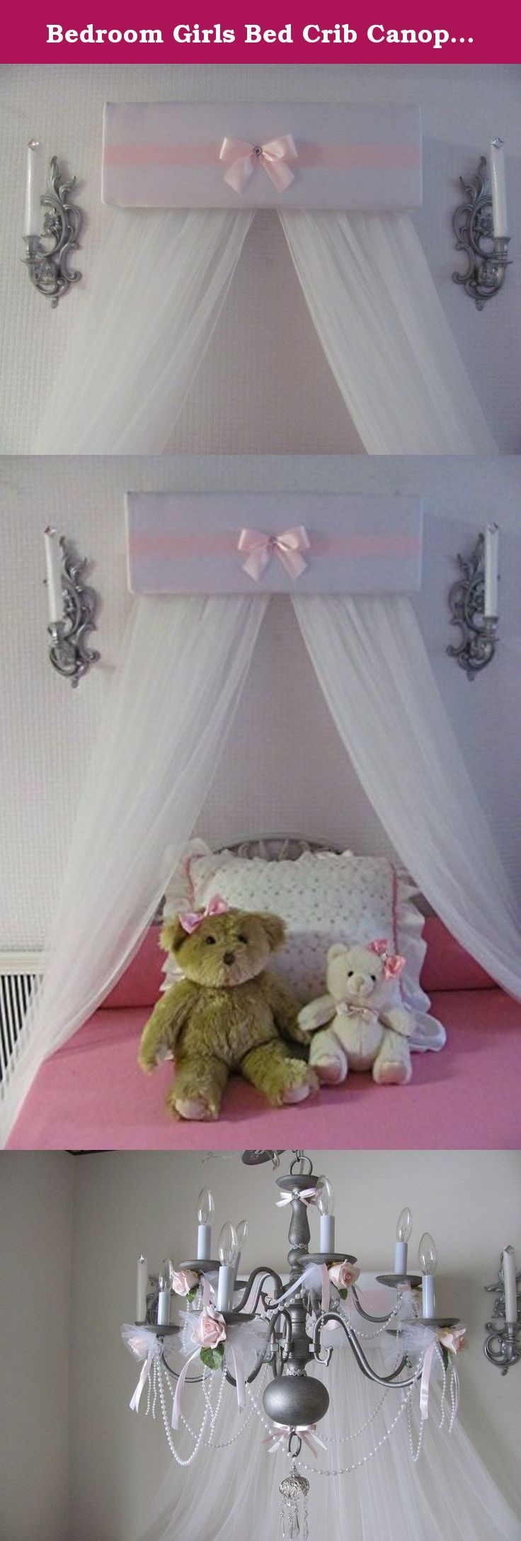 Crib for sale davao - Bedroom Girls Bed Crib Canopy White Padded And Pink Bow And Band With White Sheer Curtains