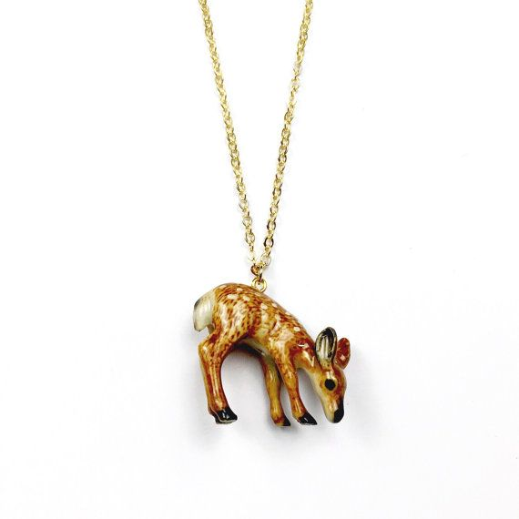 Ceramic Deer Necklace  Porcelain Animal Jewelry by AubergineFox