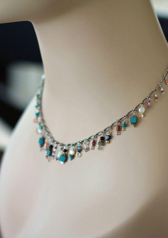 multi gemstone choker / bohemian necklace / sterling by girlthree, $132.00