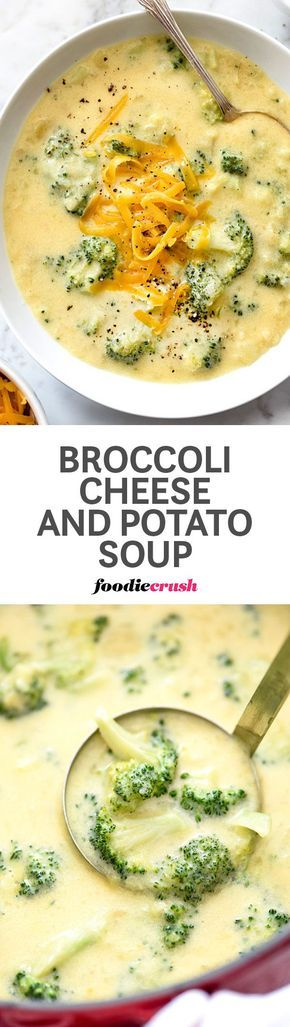 Still dreamy and incredibly creamy, but lightened up in the load, this cheesy potato and broccoli soup leaves the cream right out of it | http://foodiecrush.com