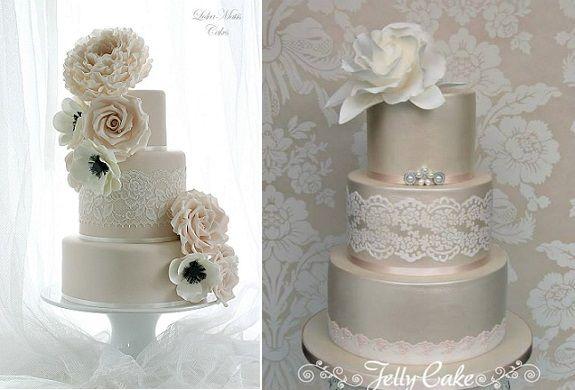 Lace sash wedding cake by Leslea Matsis left, Jelly Cake right